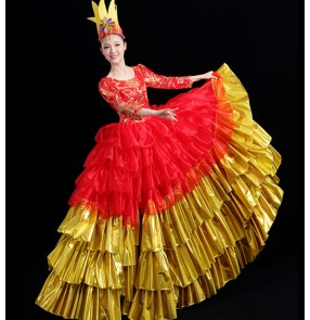 Red with gold flamenco dresses for women spanish bull dance paso double dance dresses opening ballroom dance dresses 540degree