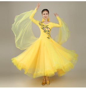 red yellow hot pink royal blue ballroom dancing dresses for women female competition waltz tango dance dresses