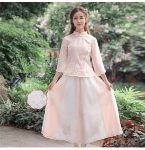 Republic of China retro style Women pink Hanfu film cosplay qipao dresses stand-up collar Tang suit embroidered fairy dress student suit