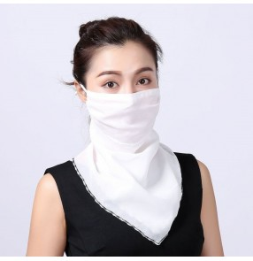Reusable face masks for women chiffon neck guard scarf sunscreen dust proof riding outdoor protective mask for female