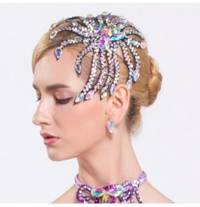 Rhinestones bling headdress women's ballroom latin dance headdress waltz tango dance hair accessories