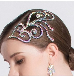 rhinestones bling women ballroom latin dance headdress hair accesories