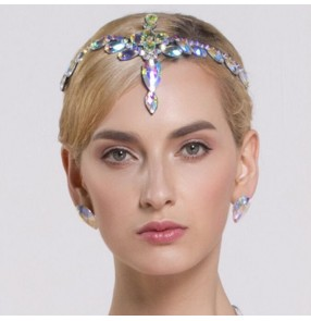 Rhinestones bling women's competition headdress ballroom waltz tango dancing headdresses