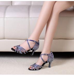 Rhinestones competition black navy ballroom latin dance shoes for women female waltz tango chacha salsa dance sandal shoes 7cm heel