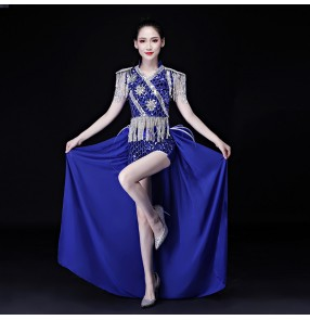Roayl blue silver red Jazz modern dance costumes for Female adult  gogo dancers stage tuxedo outfits Sequin tassel dovetail Nightclub performance clothes