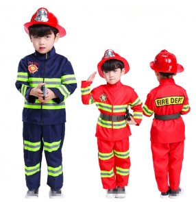 Role Fireman playing Cosplay costumes boys girls professional experiences worker Primary and secondary school students playing stage performance outfits