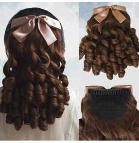 Roman curly wig for women girls princess curly ponytail court qipao dress bow wig film television cheongsam dress Republic of China curly wig hair
