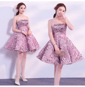 rose flower lace evening dresses for women banquet cocktail party prom dress host singers wedding party bridesmaid mini dresses