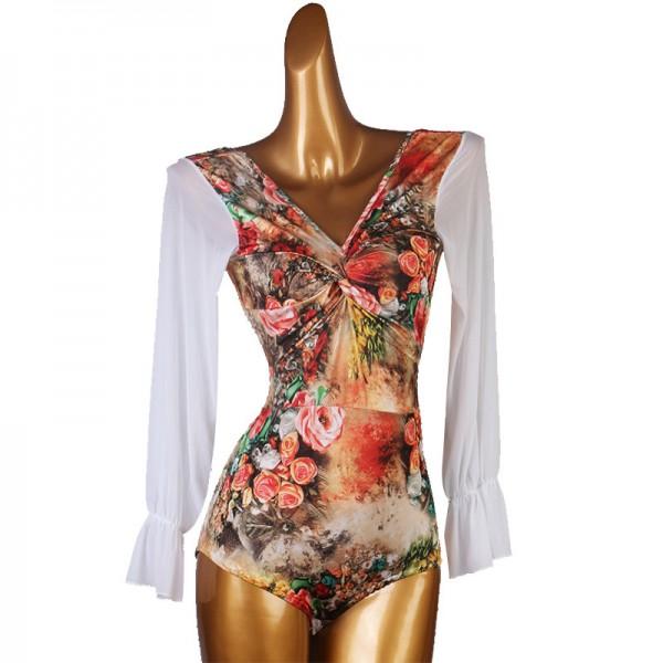 Printed White Bodysuit For Women Long Sleeve Leotard For Women Yoga Bodysuit Cut Out Bodysuit Pole Dance Leotard Braided Bodysuit