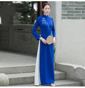 Royal blue chinese dresses for women Ao Dai cheongsam vietnamese retro oriental dress Chinese women zen tea qipao women