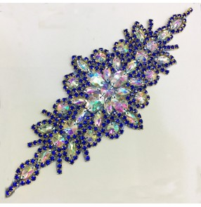 Royal blue crystal diamond rainbow color chain applique DIY belt for evening dress neck waistline coat neckline decoration