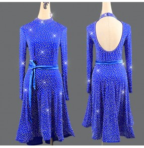Royal blue diamond long sleeves competition women's latin dance dresses female salsa chacha rumba dance dress skirts