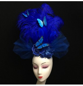 Royal blue feather haddresses for women with butterfly model show stage performance host bride photos hair accessories