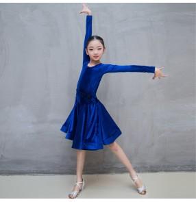 Royal blue girl's latin dance dresses velvet competition stage performance ballroom rumba salsa samba dance skirt costumes