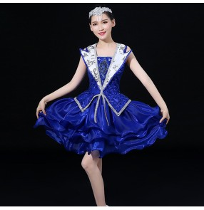 Royal blue jazz dance dresses for women female singers dj ds modern singers chorus cheer leaders stage performance competition costumes