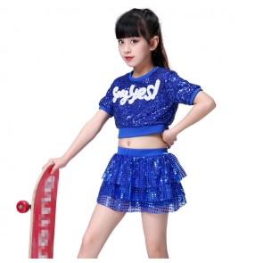 Royal blue kids jazz hip hop dance costumes sequin boys girls cheerleaders modern dance hiphop show stage performance outfits costumes