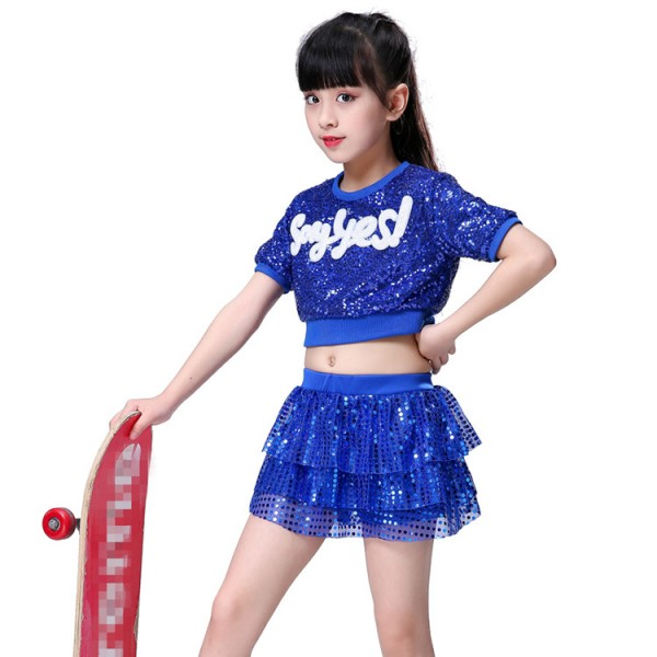 2f16f463b6b0 Royal blue kids jazz hip hop dance costumes sequin boys girls cheerleaders modern  dance hiphop show stage performance outfits costumes