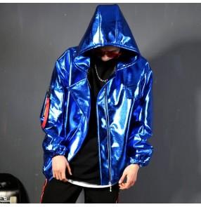 Royal blue men's leather hiphop street dance jacket stage performance model show night club dj singers performance hoddies coat jackets