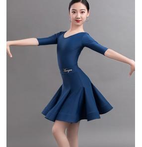 Royal blue navy wine black Latin dance dresses for girls children Professional ballroom latin competition dance dress for kids