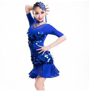 Royal blue paillette ballroom dresses competition girls children latin dresses stage performance chacha rumba salsa dancing dresses