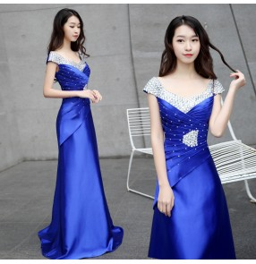 Royal blue rhinestones satin evening dresses cocktail celebration party stage performance host singers dresses