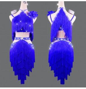 Royal blue tassels diamond competition latin dance dresses for women girls handmade custom size competition latin belly chacha dance dresses