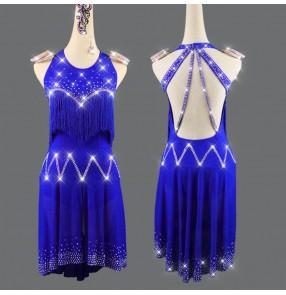 Royal blue tassels diamond competition latin dance dresses for women girls stage performance handmade latin dance costumes salsa chacha dance dresses