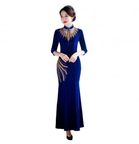 Royal blue velvet Chinese Dresses for women Chinese qipao dresses stage performance host singers phtoos studio miss etiquette show performance dress