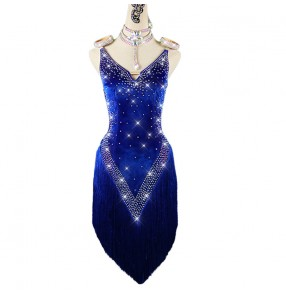 Royal blue velvet tassels diamond competition latin dance dress for women girls stage performance latin rumba chacha dance dresses