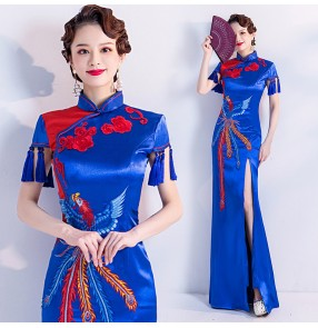Royal blue with red chinese dresses for women chinese traditional cheongsam oriental chinese qipao dress host singers miss etiquette evening dresses for female