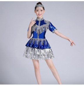 Royal blue with silver Jazz dance sequin dress for women girls modern singer dance costume sexy nightclub ds dancers fashion costume female
