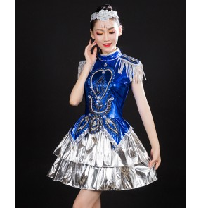 Royal blue with silver sequined jazz dance costumes for women girls singers gogo dancers solo stage performance modern dance outfits