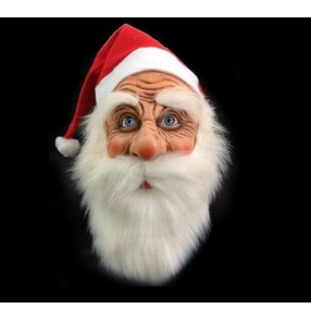Santa Claus cosplay Latex Mask for adult Outdoor Ornament Santa Claus Costume stage performance Masquerade Wig Beard Dress up mask for Xmas Party