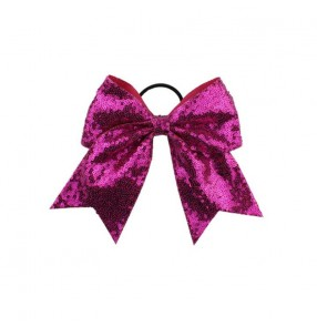 Sequin Large Hair Bows hair band for Cheer-leading Girls Hair Accessories Ponytail Holder Elastic Band