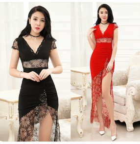 sexy Nightclub black red lace dress feminine dj overalls princess ktv nightclub evening party sexy dress Masseur work clothes for women