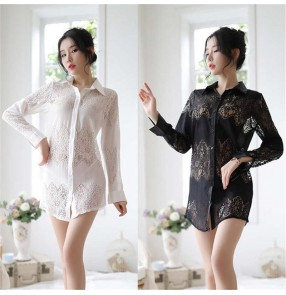 Sexy women's erotic lingerie Lace blouses temptation uniform set lace transparent sexy pajamas long sleeve women's tassel shirt