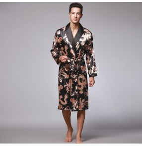 Silk satin long sleeves home clothing for male men's pajamas Long robe and bathrobe men's lapel collar home wear