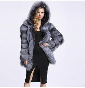 Silver black fashion faux fur coat for women female hoodies faux fur jacket for women