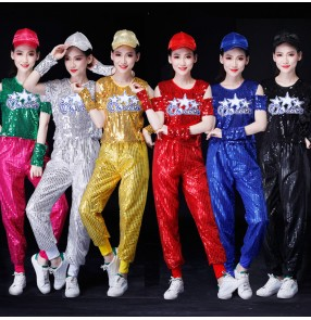 silver black red sequins Jazz modern dance costumes for women girls gogo dancers performance outfits sequined clothes suit cheerleading costume