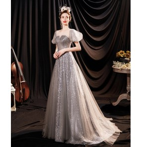 Silver glitter bride wedding toast dress banquet host wedding evening dress host singers solo performance dresses