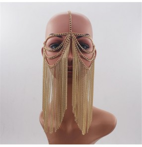 Silver gold metal chains punk rock style veil masks for unisex night club pole dance tassels masks belly dance sexy veil masks for women