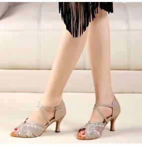 Silver gold rhinestones Ballroom dance latin dance shoes for women adult high-heeled ladies dance shoes fashion square dance shoes soft sole waltz tango dance shoes
