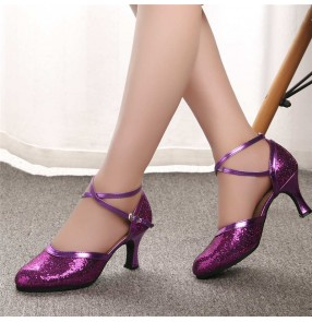 Silver gold sequined Latin dance shoes for women adult purple ballroom dance ladies high heel dance shoes fashion dance shoes square ballroom tango dance shoes