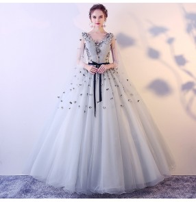 silver pink bling evening Dress for women girls solo performance clothes pettiskirt vocal chorus art test host long skirt singers performing dress for female