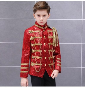 silver red black sequin boy European palace court  drama cosplay performance coats Boy jazz dance singers drummer performance blazers jackets