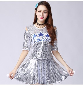 Silver royal blue red gold sequin Cheerleader stage performance costume green Jazz dance costume Female adult modern hip-hop group gogo dancers sequined stage peformance dress