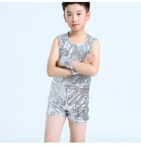 Silver sequin boy's jazz dance costumes modern dance hiphop street singers host stage performance vest and shorts