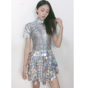 Silver sequins Bar jazz dance performance dresses for women nightclub ds female singer jazz stage dance team performance gogo dancers sequin skirt