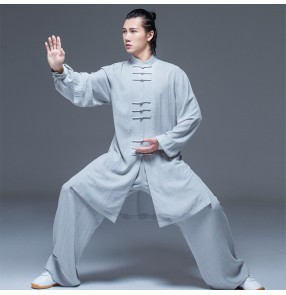 Silver Tai Chi Clothing for women and men cotton linen Chinese style long length wushu chinese kungfu uniforms summer retro Tai Chi practice clothes
