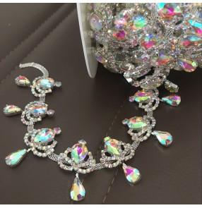 Silver White Shiny Pointed Water Drop Tassel Rhinestone Chain for DIY apparel Neckline dance dress wedding dress decoration diamond hat skirt jewelry DIY crystal